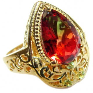 Pear cut watermelon Tourmaline 18K Gold over .925 Sterling Silver handcrafted Ring s. 9 1/4