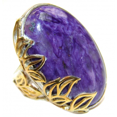 Natural Siberian Charoite 14K Gold over .925 Sterling Silver handcrafted ring size 6 adjustable