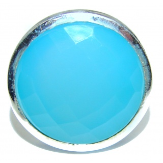 Blue Chalcedony Agate .925 Sterling Silver handcrafted Ring s. 6