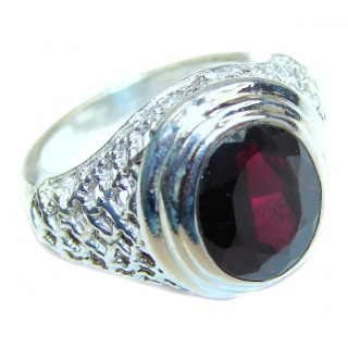 Genuine Garnet .925 Sterling Silver handcrafted Statement Ring size 7