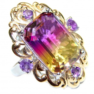 HUGE emerald cut Ametrine 18K Gold over .925 Sterling Silver handcrafted Ring s. 6 1/2