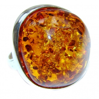 Huge Authentic Baltic Amber .925 Sterling Silver handcrafted ring; s. 8 adjustable