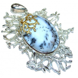 Perfect Storm Perfect quality HUGE Dendritic Agate .925 Sterling Silver handmade Pendant