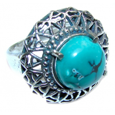 Huge Turquoise .925 Sterling Silver handcrafted ring; s. 7