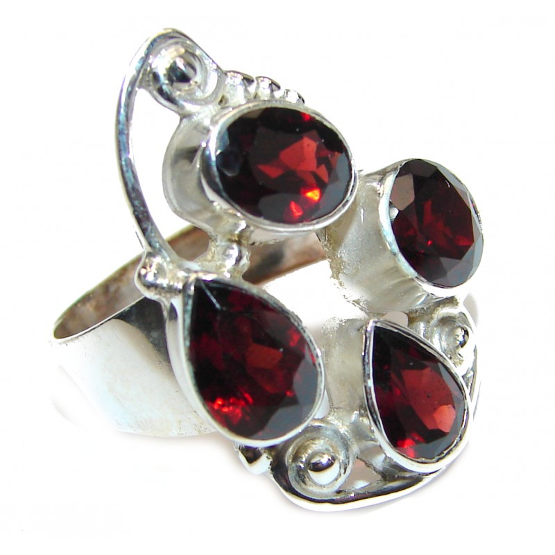 Genuine Garnet .925 Sterling Silver handcrafted Statement Ring size 8