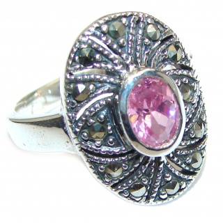 Pink Rainbow Topaz .925 Sterling Silver handcrafted ring size 7 3/4