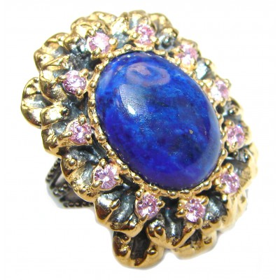 Large Natural Lapis Lazuli 18K Gold over .925 Sterling Silver handcrafted ring size 7 3/4