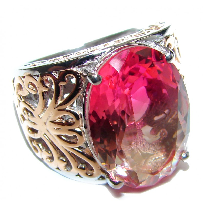 HUGE oval cut Pink Tourmaline 18K Gold over .925 Sterling Silver handcrafted Ring s. 6