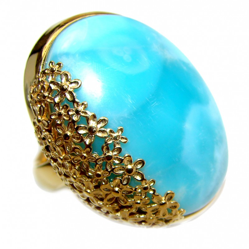 Vintage Design Natural Larimar 18K Gold over .925 Sterling Silver handcrafted Ring s. 7 adjustable
