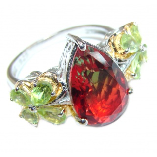 Pear cut Watermelon Tourmaline .925 Sterling Silver handcrafted Ring s. 8 3/4