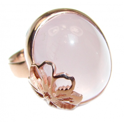 Authentic Rose Quartz 18K Gold over .925 Sterling Silver handcrafted ring s. 8 adjustable