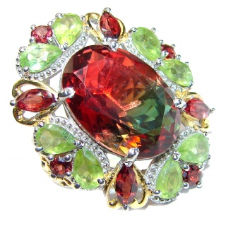 HUGE Oval cut Watermelon Tourmaline 18K Gold over .925 Sterling Silver handcrafted Ring s. 6 1/4
