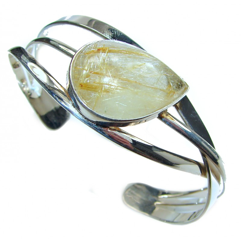 Perfection Golden Rutilated Quartz .925 Sterling Silver Bracelet / Cuff