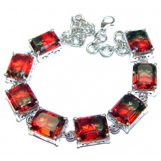 Luxury Watermelon Tourmaline 18K Gold over .925 Sterling Silver handmade Bracelet
