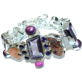 Fancy Amethyst Copper .925 Sterling Silver handcrafted Bracelet