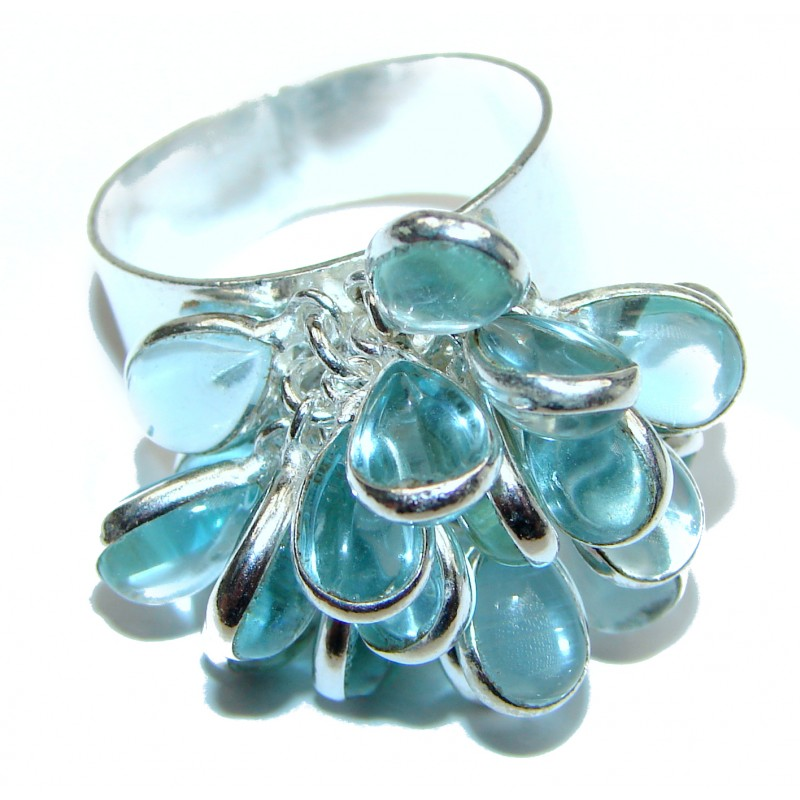 Turquoise .925 Sterling Silver handmade CH CHA ring s. 10