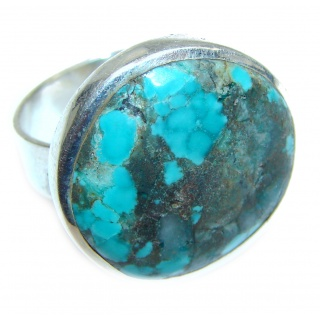 Blue Copper Turquoise .925 Sterling Silver ring; s. 6
