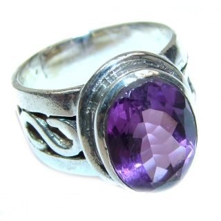 Genuine Amethyst .925 Sterling Silver handcrafted Ring size 8