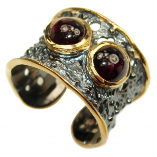 Genuine 27 ct Garnet 18ct Gold Rhodium over .925 Sterling Silver handmade Cocktail Ring s. 8 adjustable