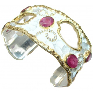 Bracelet with authentic Ruby & Diamonds 24K gold and Silver in Antique White Patina