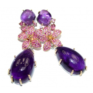 Huge Vintage Design Authentic Amethyst 24K Gold over .925 Sterling Silver handmade earrings