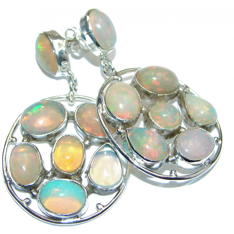 Authentic Ethiopian Fire Opal .925 Sterling Silver handmade earrings