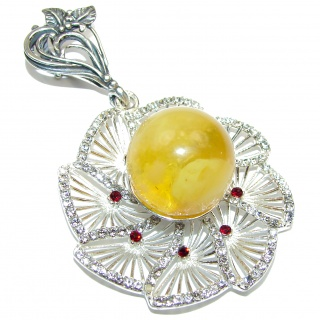 Large Natural Baltic Butterscotch Amber .925 Sterling Silver handmade Pendant