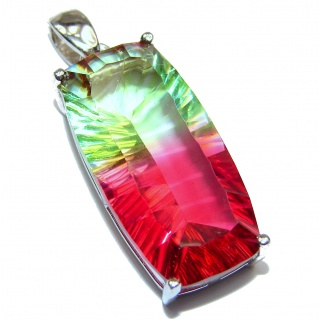 Deluxe Red Green Emerald cut Watermelon Tourmaline pendant .925 Sterling Silver handmade Pendant