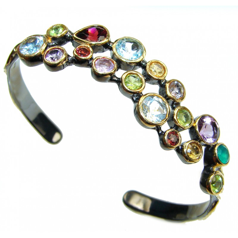 Real Treasure genuine Multigem 18K Gold Rhodium over .925 Sterling Silver handcrafted Bracelet / Cuff