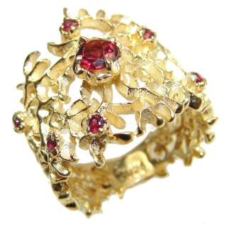 Genuine Garnet 24K Gold .925 Sterling Silver handcrafted Statement Ring size 8
