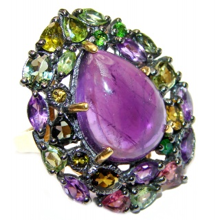Natural Amethyst Chrome Diopside 18K Gold over .925 Sterling Silver handmade ring s. 6 1/4