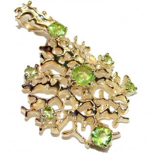 Royal quality genuine Peridot 18K Gold over .925 Sterling Silver handcrafted Pendant