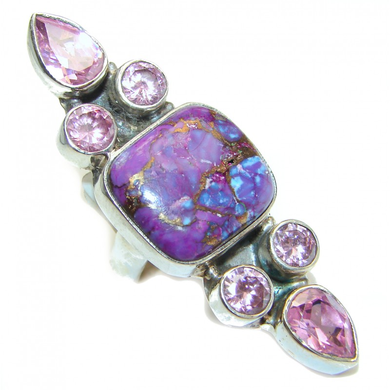 Huge Purple Turquoise .925 Sterling Silver handcrafted ring; s. 7