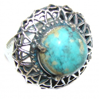Huge Turquoise .925 Sterling Silver handcrafted ring; s. 7 1/4