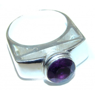 Genuine Amethyst .925 Sterling Silver handcrafted Ring size 10
