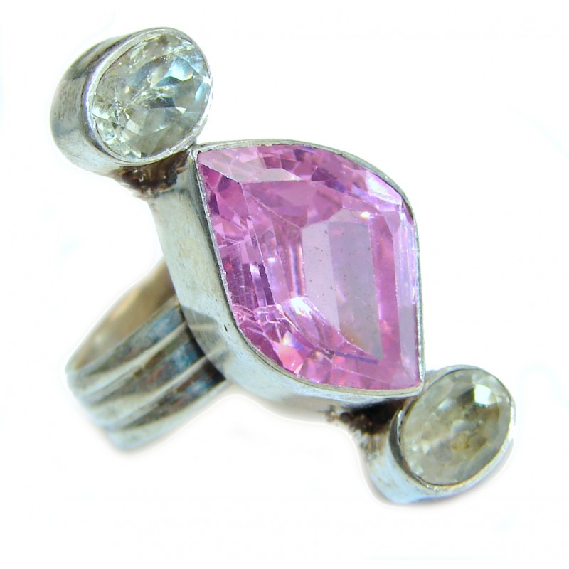 Pink Rainbow Topaz .925 Sterling Silver handcrafted ring size 7
