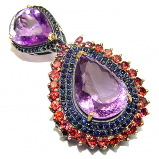 Large Vintage Design Genuine Amethyst 18K Gold over .925 Sterling Silver handmade Pendant