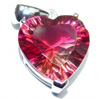 Deluxe Red Watermelon Tourmaline pendant .925 Sterling Silver handmade Pendant