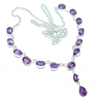 Sublime Authentic Amethyst .925 Sterling Silver Necklace