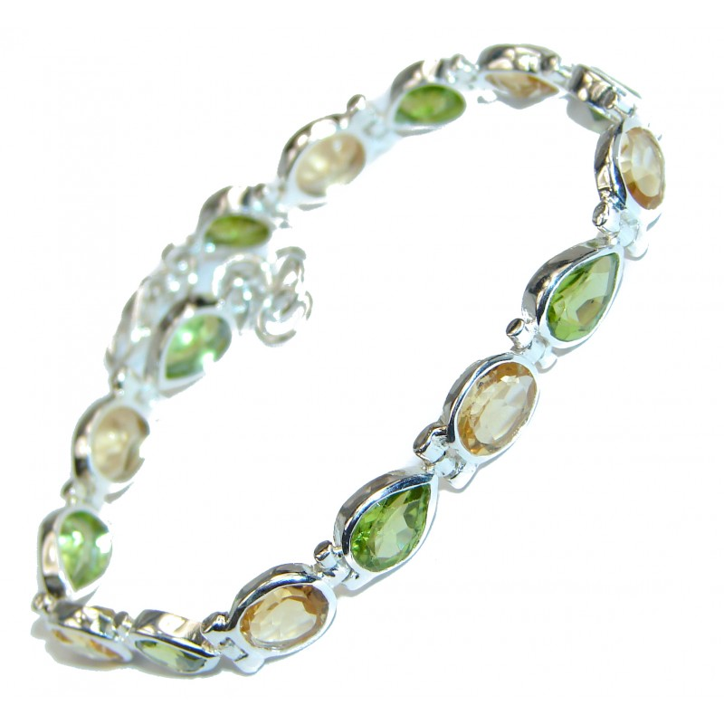 Authentic Peridot Citrine .925 Sterling Silver handmade Bracelet