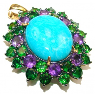 Amazon Breeze Unique Amazonite Chrome Diopside 18K Gold over .925 Sterling Silver handmade pendant