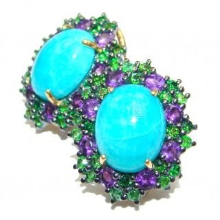 Amazon Breeze Unique Amazonite Chrome Diopside 18K Gold over .925 Sterling Silver stud earrings