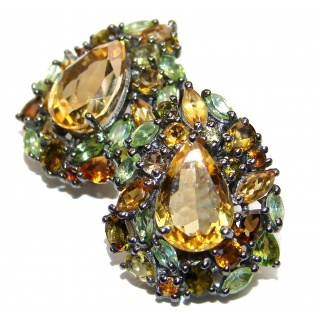 Vintage Design Authentic Citrine .925 Sterling Silver handmade earrings