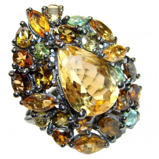 LARGE genuine Faceted Citrine .925 Sterling Silver handmade Cocktail Ring s. 8