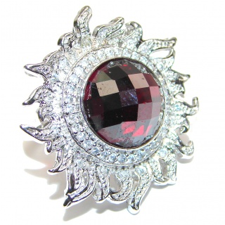Large Ultra Fancy Cubic Zirconia .925 Sterling Silver Cocktail ring s. 6