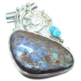 Authentic Australian Boulder Opal .925 Sterling Silver handmade Pendant