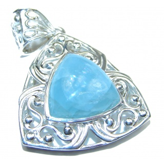 Genuine Blue Aquamarine .925 Sterling Silver Pendant