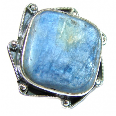 Huge Natural Kyanite .925 Sterling Silver handcrafted ring size 7