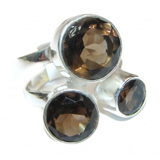 Large Authentic Smoky Topaz .925 Sterling Silver handcrafted ring; s. 9