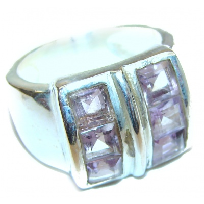 Spectacular Natural Amethyst .925 Sterling Silver handcrafted ring size 6